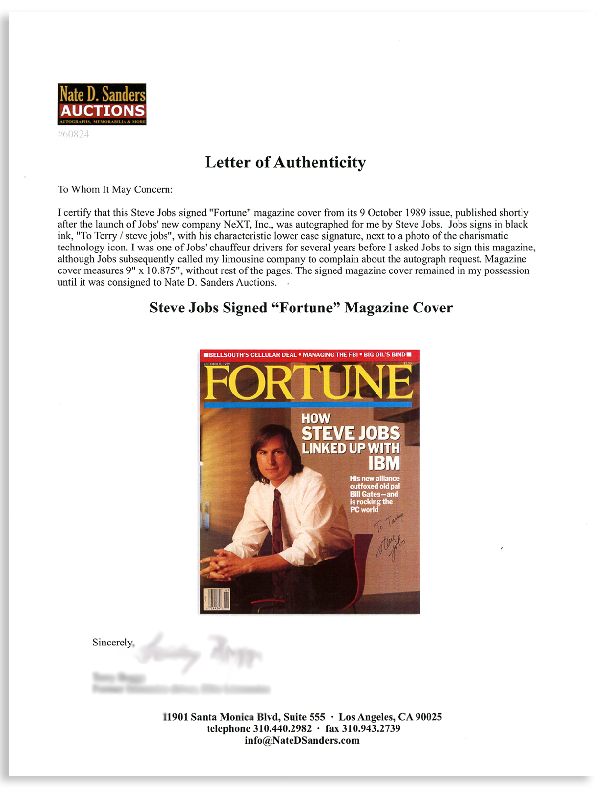 Steve Jobs Fortune signature