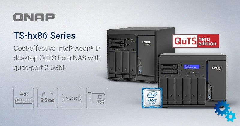 QNAP TS-hx86: New NAS series offers Intel Xeon processor and 2.5 Gigabit Ethernet connections