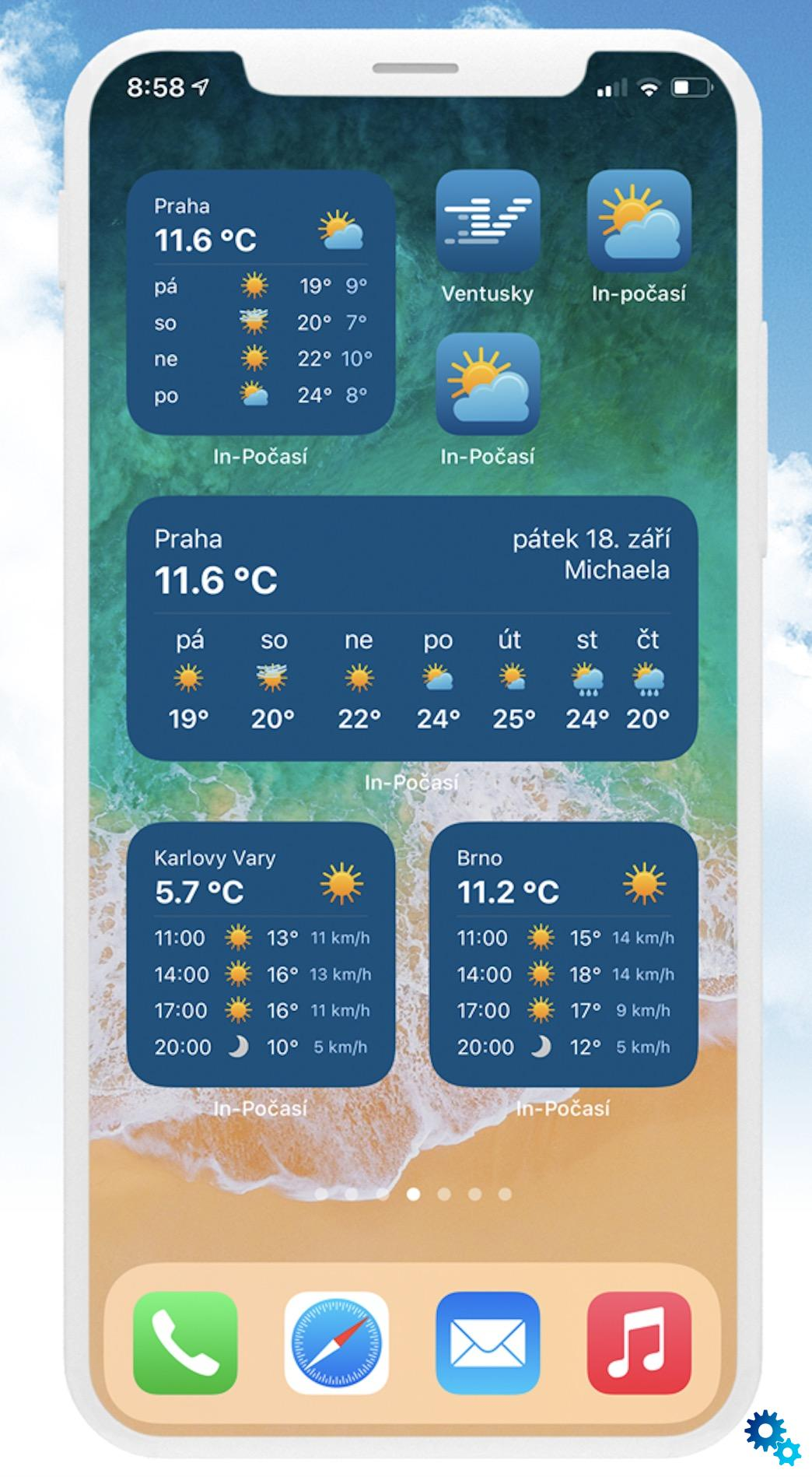 The Czech In-weather application now offers widgets with the weather or holidays, and in practicality they will also surpass widgets from Apple