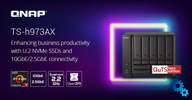 QNAP TS-h973AX: 9-bay NAS with Ryzen processor and 10-gigabit connection presented